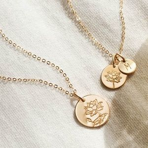 Lotus July Birth Flower Plant Gift Charm Necklace